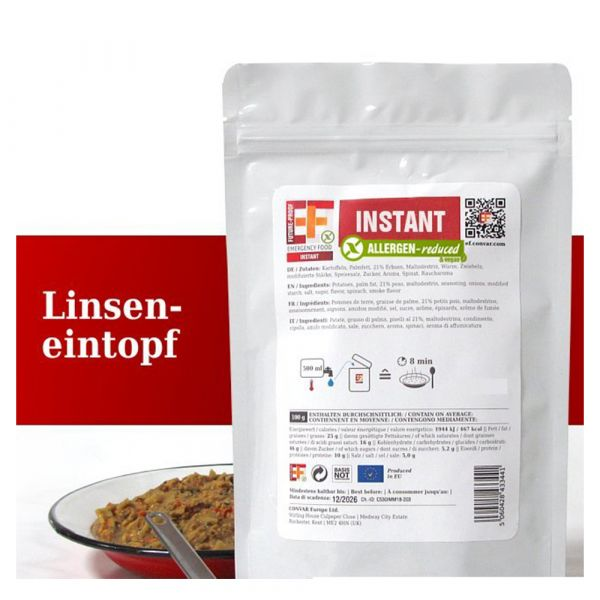 EF Emergency Food Ragoût de lentilles en sachet