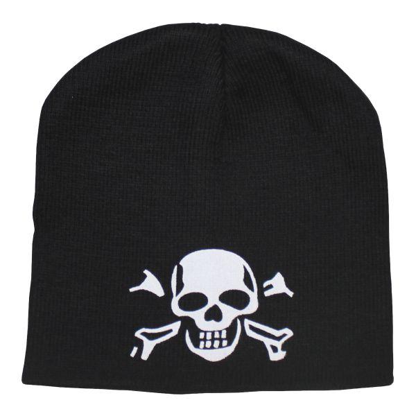 Bonnet tricoté avec tête de mort noir