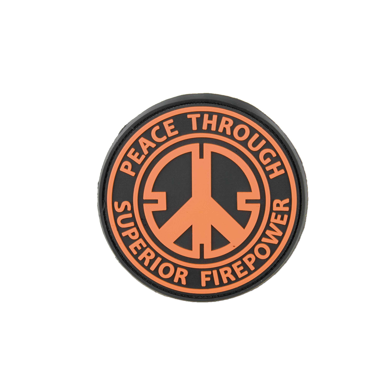 Patch 3D Peace Through Superior Firepower orange