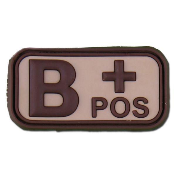 Patch 3D groupe sanguin B Pos desert