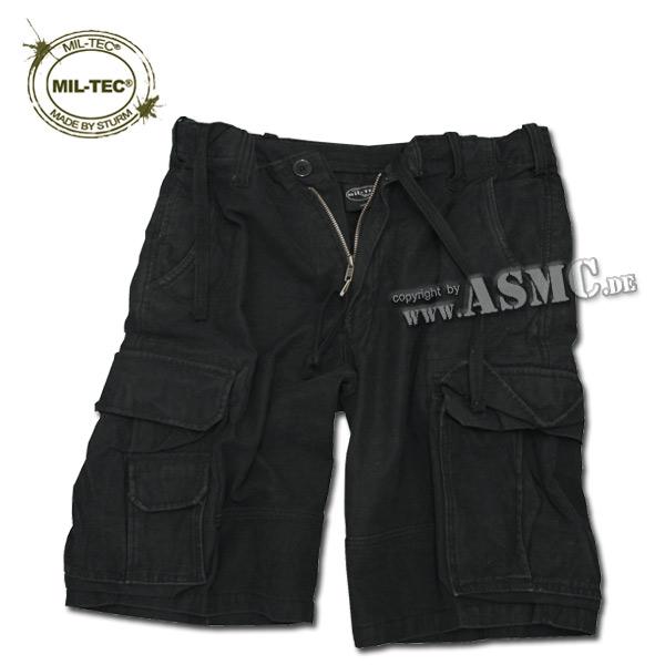 Shorts Aviator Mil-Tec Satin prélavé noir