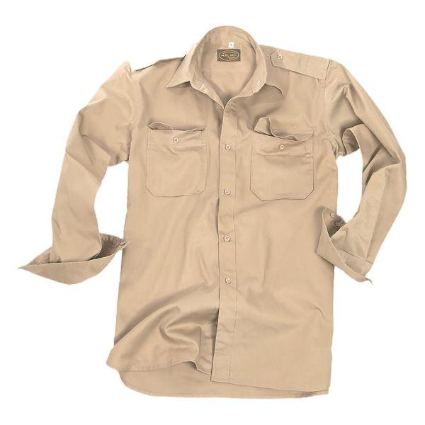 Chemise à manches longues coton kaki