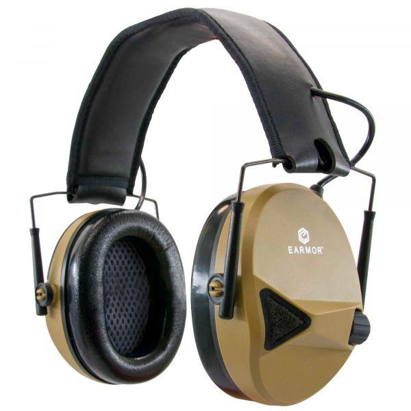 Earmor Casque anti-bruit électronique M30 NRR 24 brun coyote