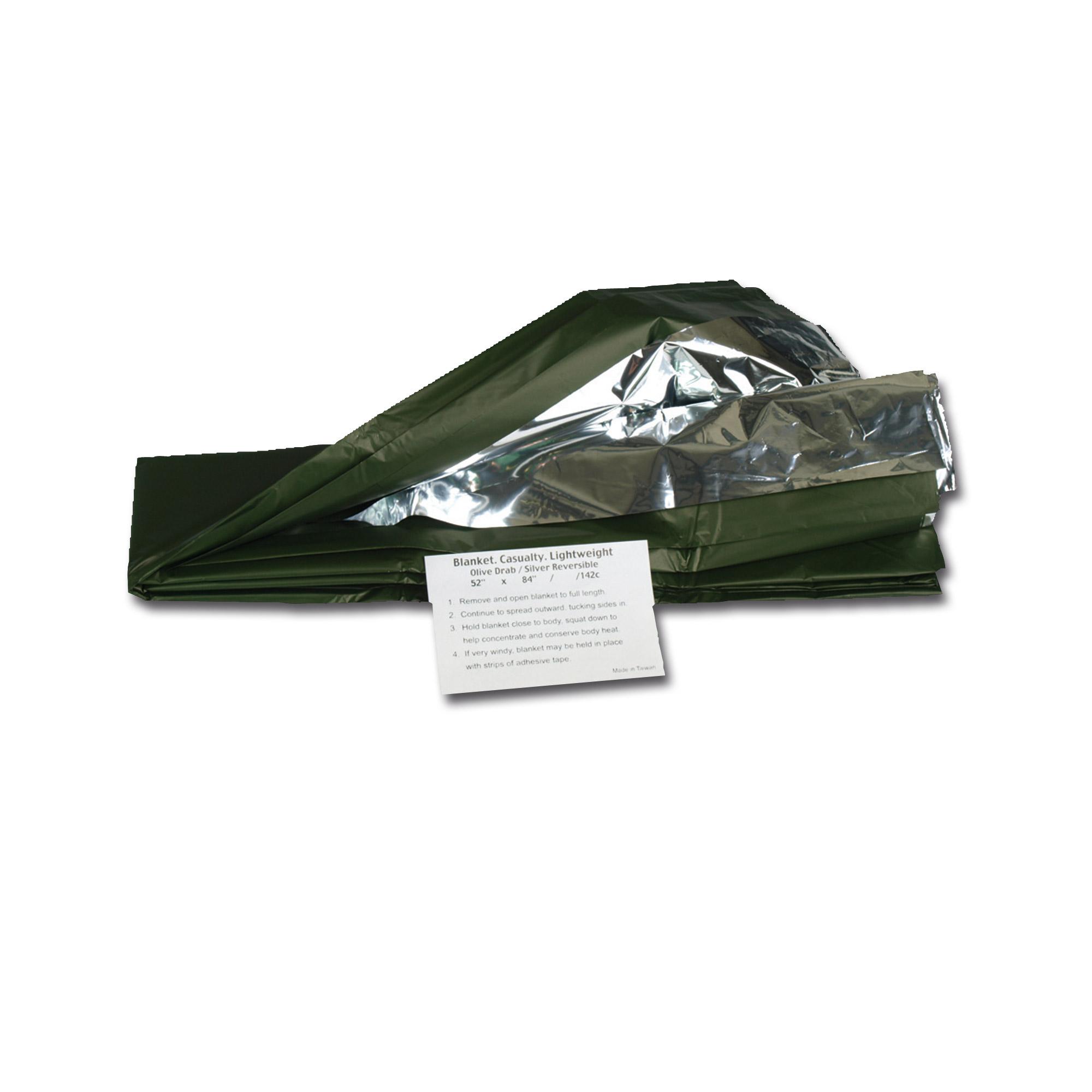 Couverture de survie argentée/verte olive
