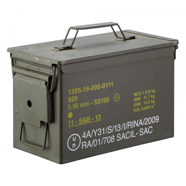 Caisse à munition US métal moyenne Cal .50/5.56 occasion