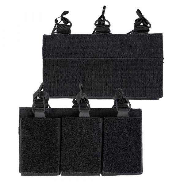 Mil-Tec Porte-chargeur Triple avec velcro au dos noir