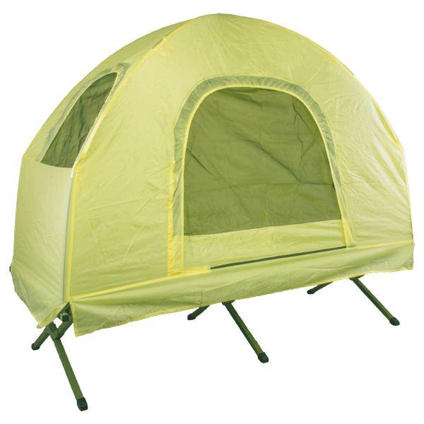 Lit de camp avec tente jaune