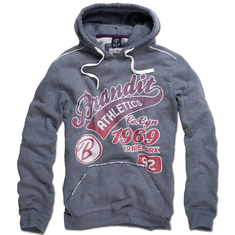 Sweatshirt Hood Brandit Classic Mountain gris/rouge