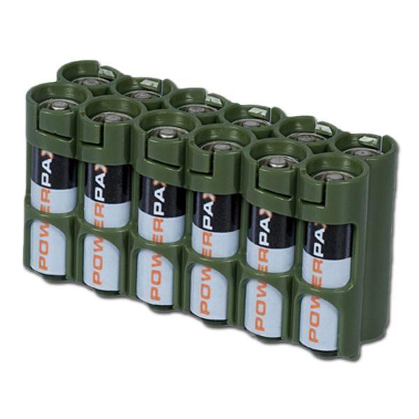 Porte-batteries Powerpax 12 x AA olive