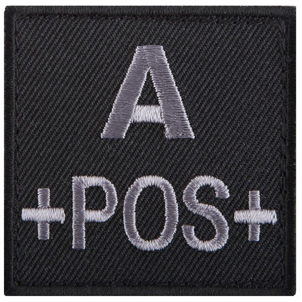 T.O.E Patch groupe sanguin A positif noir