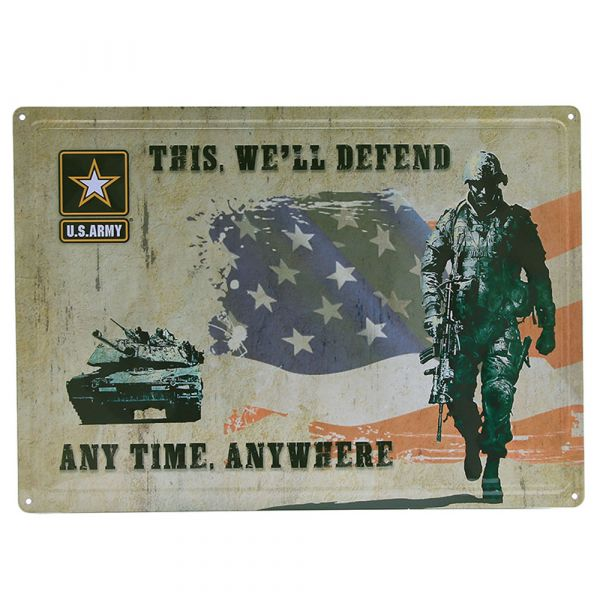101 Inc. Plaque métallique This we ll defend any time anywhere