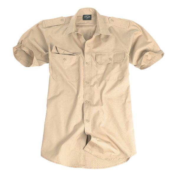 Chemise à manches courtes coton kaki