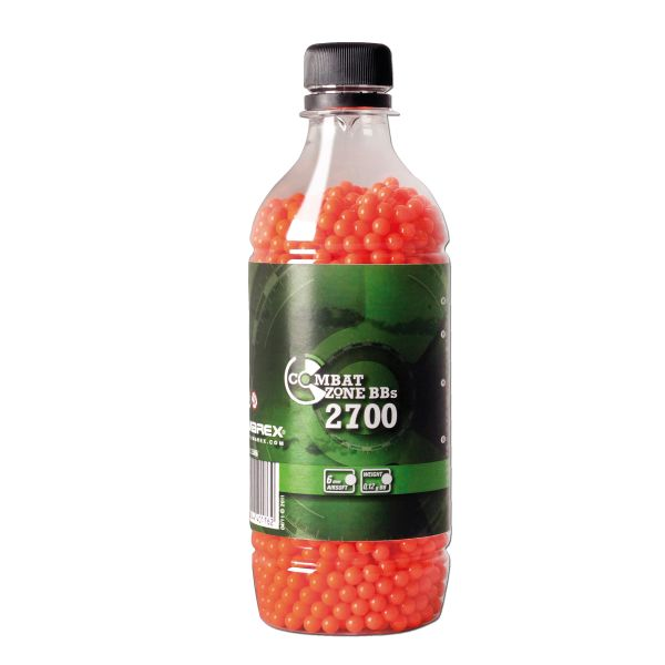 Billes Airsoft 6 mm Combat Zone 2700 pièces (0,12 g) orange