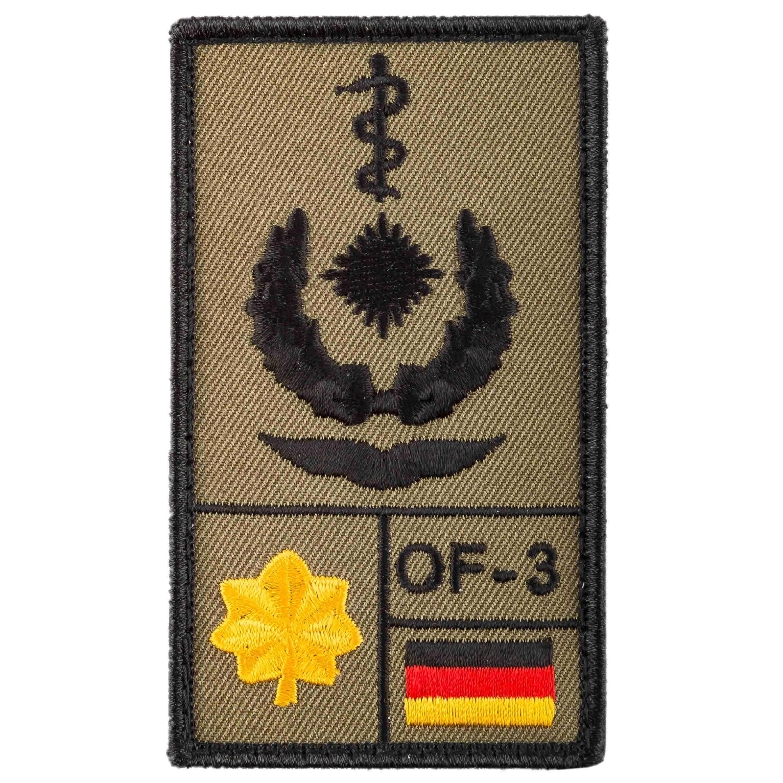 Café-Viereck Patch Grade Oberstabsarzt Luftwaffe sable