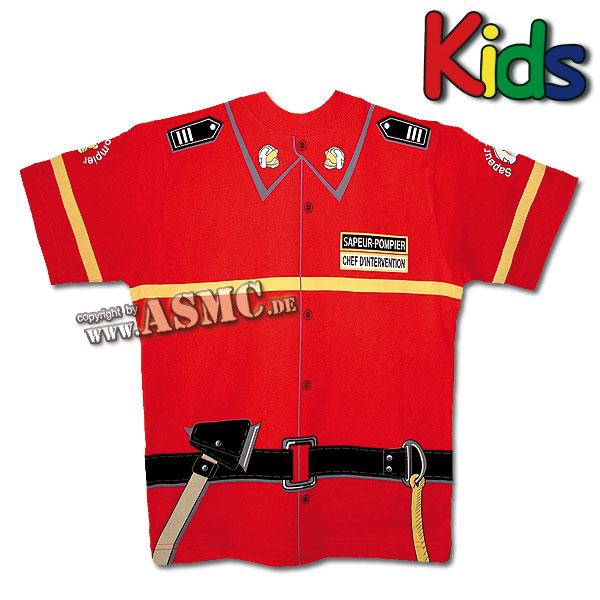 T-Shirt enfant Pompiers rouge
