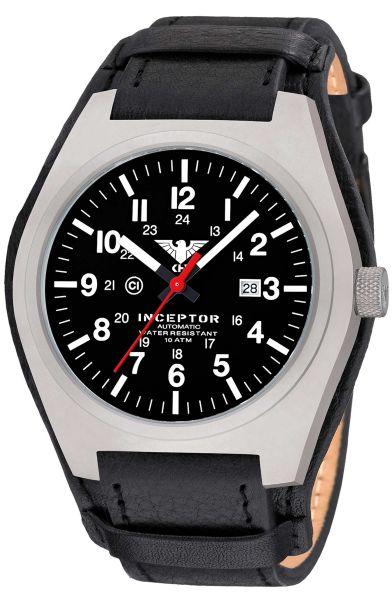 KHS Montre Inceptor Steel Automatic Bracelet en cuir G-Pad noir