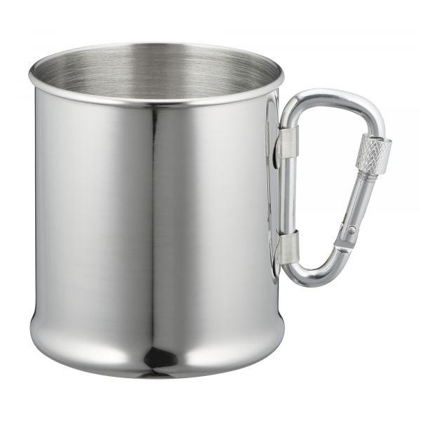 Tasse en acier inoxydable avec mousqueton 220 ml