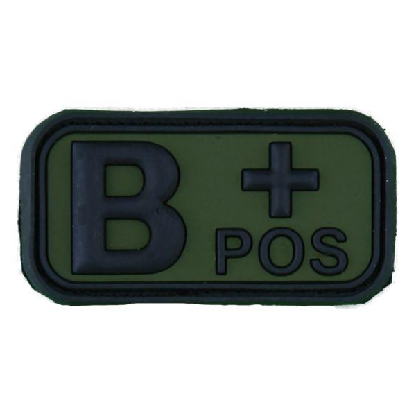 Patch 3D groupe sanguin B Pos noir-olive