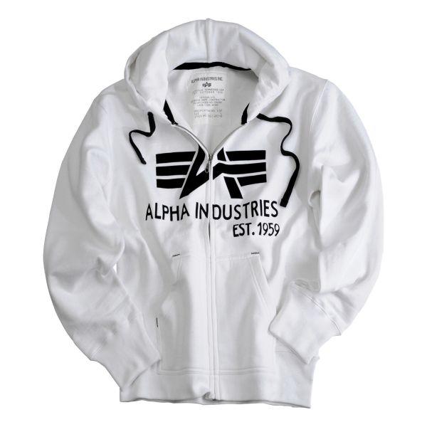 Sweat à capuche zippé Alpha Industries Big A Classic blanc