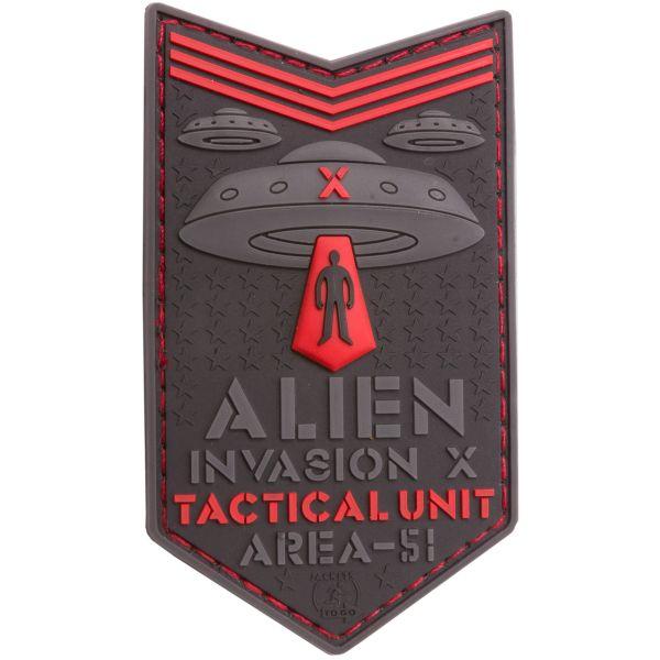 JTG Patch 3D Alien Invasion X File Tactical Unit rouge