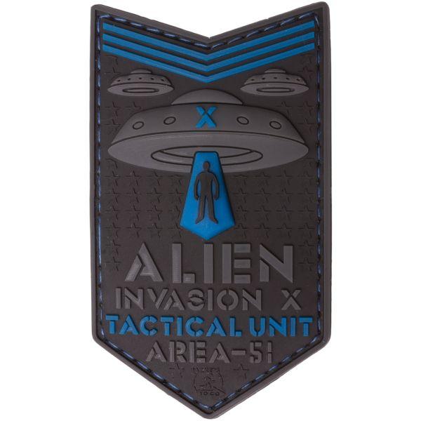 JTG Patch 3D Alien Invasion X File Tactical Unit bleu