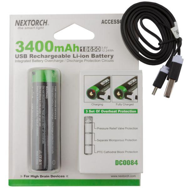 Nextorch Batterie 18650 USB Li-Ion 3.6V 3.400 mAh