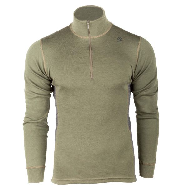 Aclima Manches Longues Warmwool Mock Neck olive night