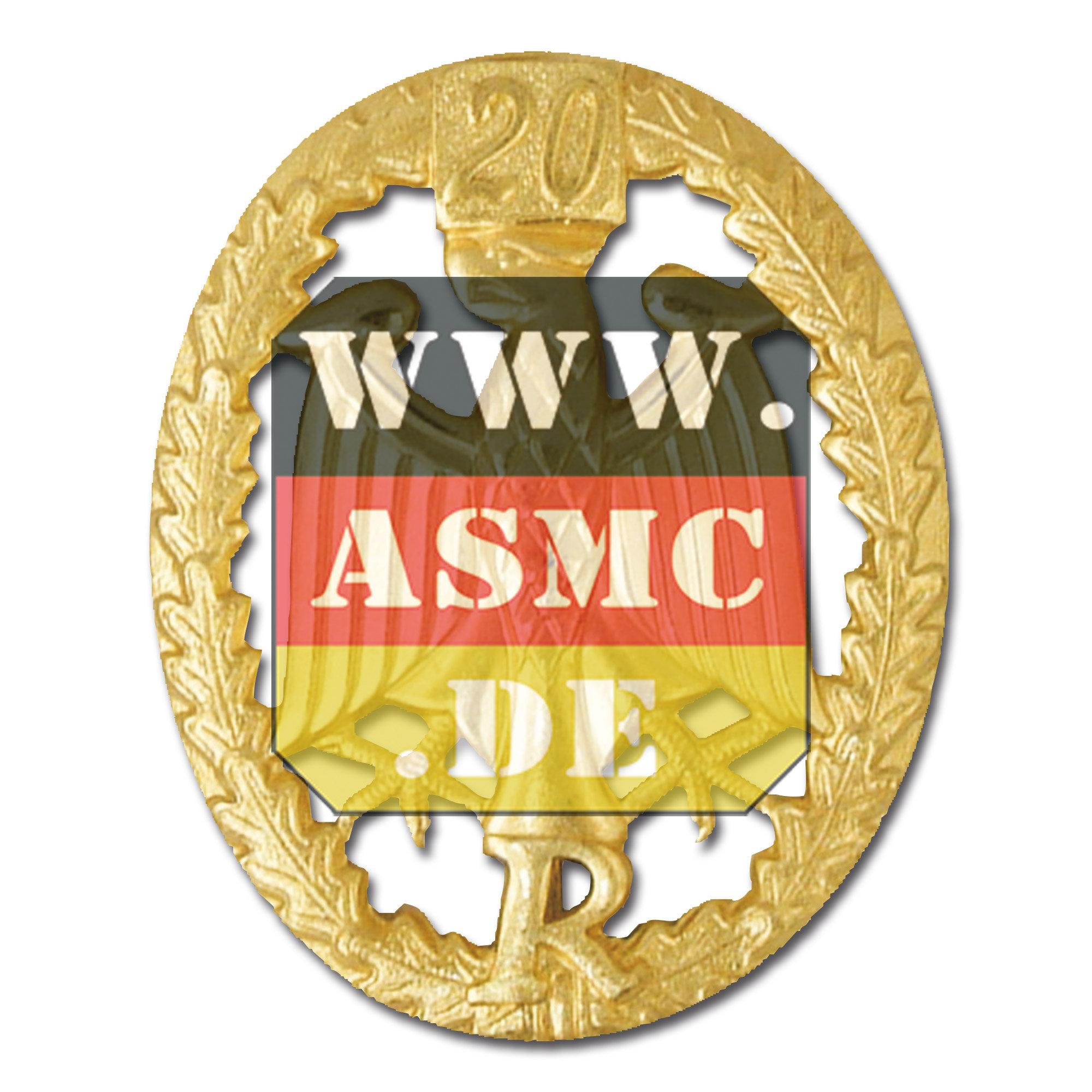 Badge de compétence Métallique réserviste or chiffre 20