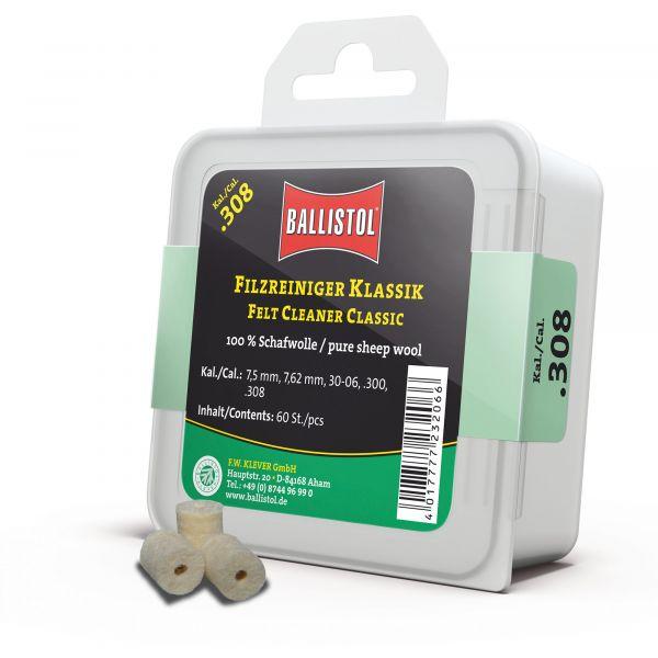 Ballistol Tampon de nettoyage Feutre Classique Cal. .308 60 Pcs
