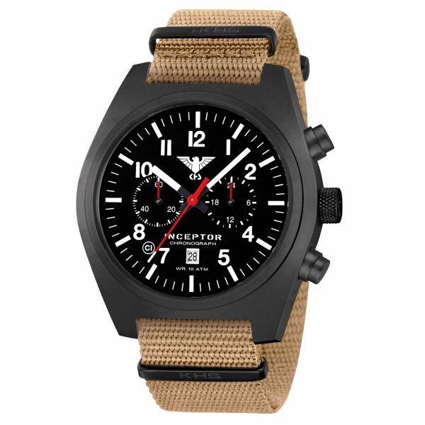 KHS Montre Inceptor Black Steel Chronograph Bracelet Otan tan