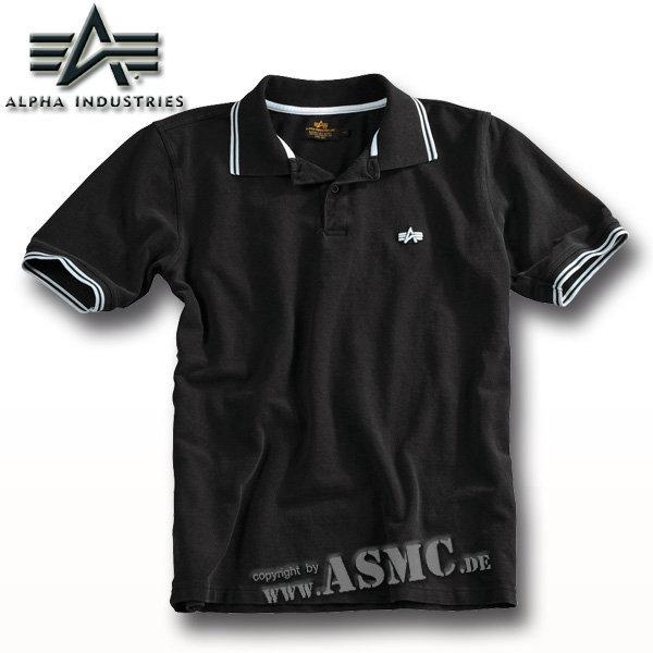 Alpha Twin Stripe Poloshirt noir/blanc