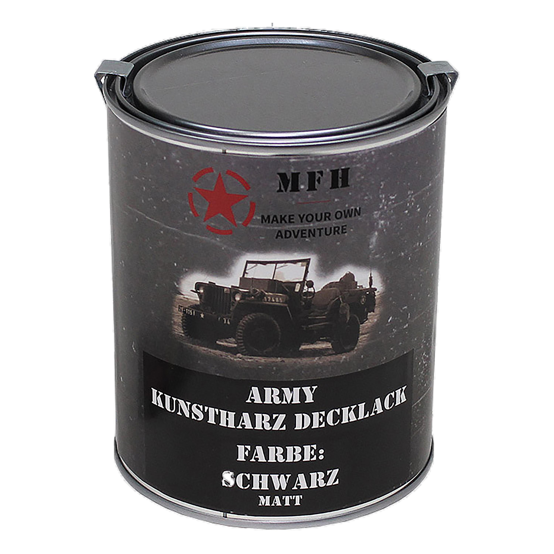 Peinture Laque Noir Mat pot de peinture army mat noir 1 l
