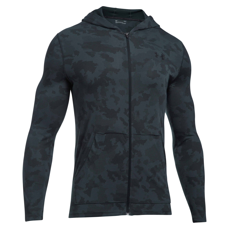 Sweat à capuche avec zip Threadborne Under Armour gris-noir