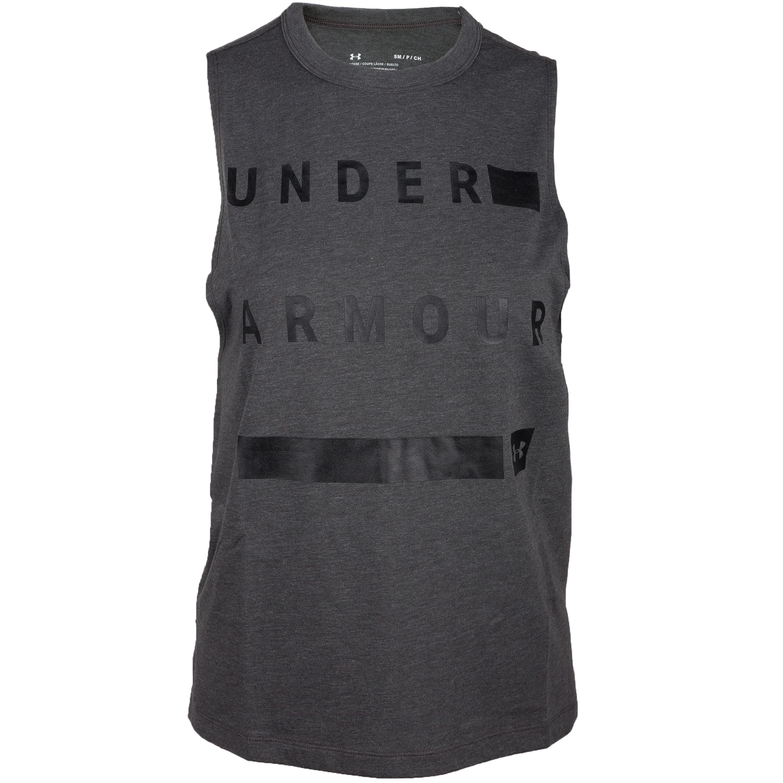 Under Armour Women T-Shirt Muscle Linear Wordmark gris