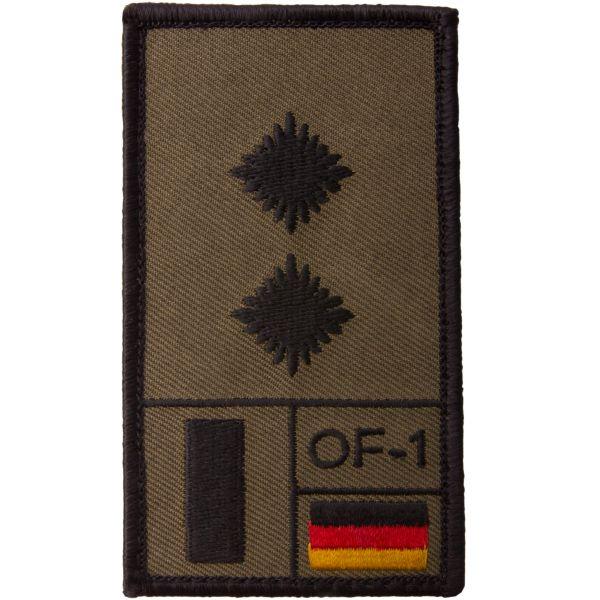 Café Viereck Patch Grade Oberleutnant olive