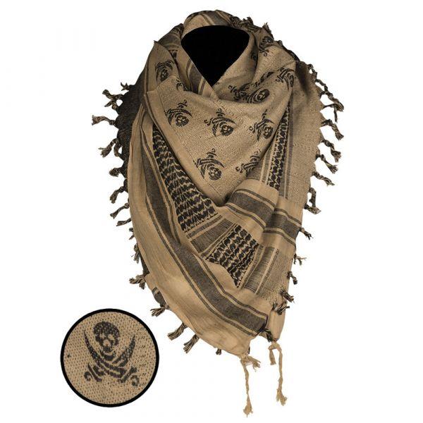 Mil-Tec Shemagh crâne 110x110 cm coyote noir