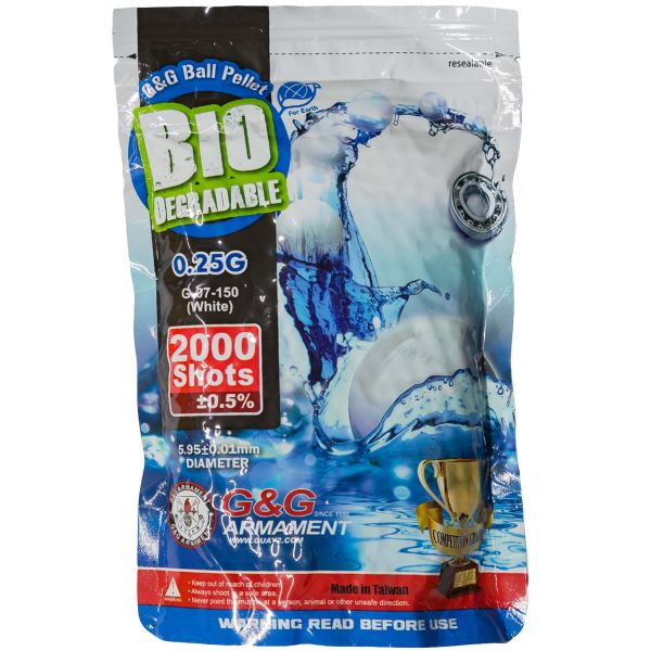 G&G Billes Airsoft Bio 6 mm 0.25 g 2000 pièces blanc