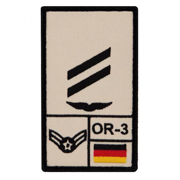 Café Viereck Patch grade Obergefreiter Luftwaffe sable