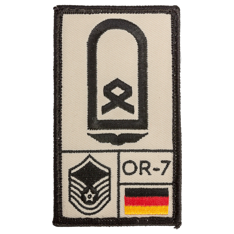 Café Viereck Patch Grade Hauptfeldwebel Armée de l'Air sable