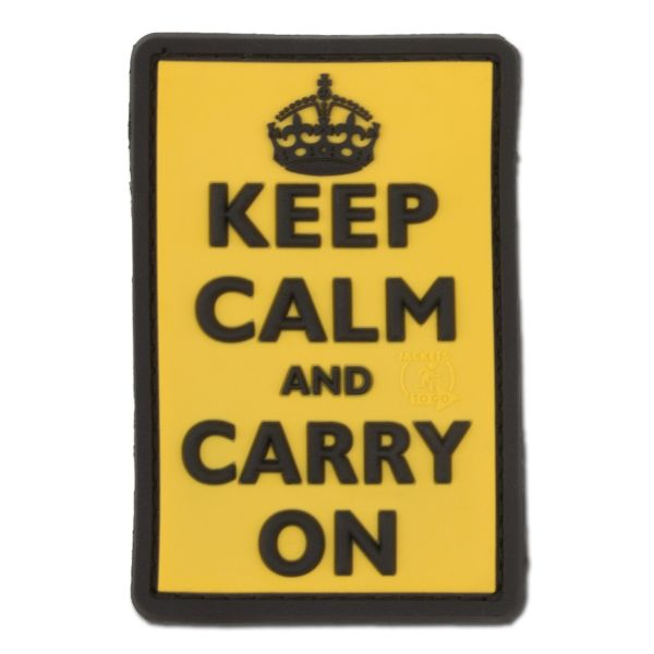 Patch 3D Keep Calm and Carry jaune