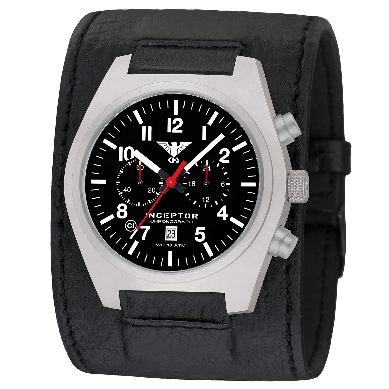 KHS Montre Inceptor Steel Chronograph large bracelet en cuir noi