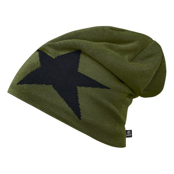 Brandit Bonnet Jersey Star vert olive et noir