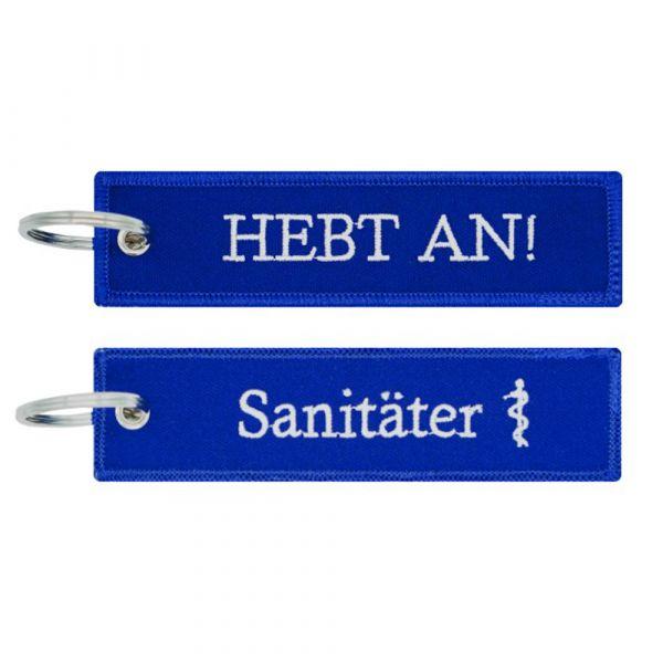 Café Viereck Porte-clés Sanitäter Hebt An bleu