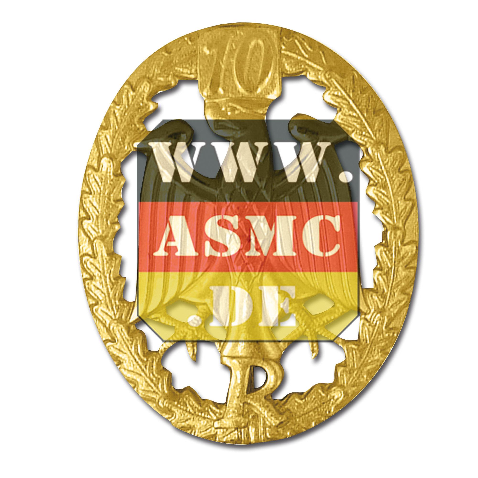 Badge de compétence Métallique réserviste or chiffre 10