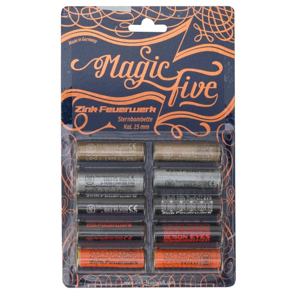 Zink Feux d'artifice Magic Five Sortiment 15 mm 10 pièces