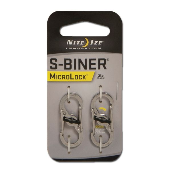 Nite Ize Mousqueton S-Biner MicroLock acier lot de 2