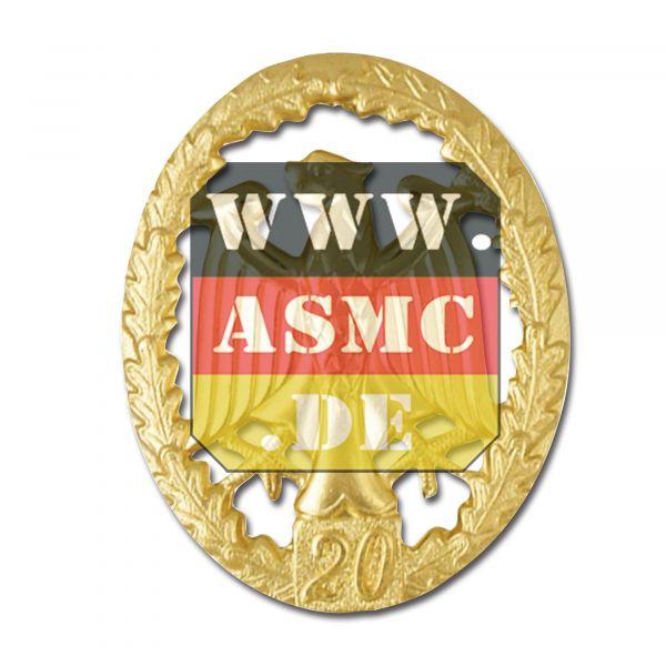 Badge de compétence Métallique or chiffre 20