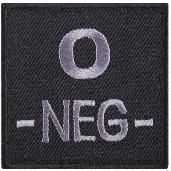 T.O.E Patch groupe sanguin O négatif noir