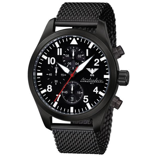 KHS Montre Airleader Black Steel Chronograph Bracelet maille